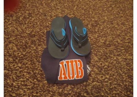 Auburn Hoody and Op flip flops